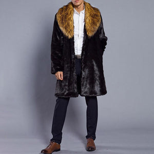 Warm Men's Winter Faux Fur Overcoat Jacket