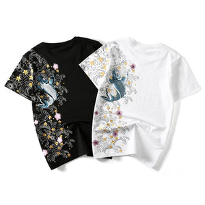 Men Embroidery Fish Top Brand Clothing T-Shirts