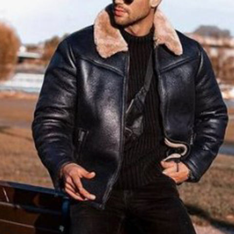 Men's Fashion Stitching Solid Color Jacket