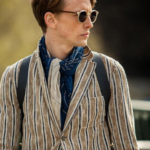 Mens Casual Patch Pocket Striped Suit