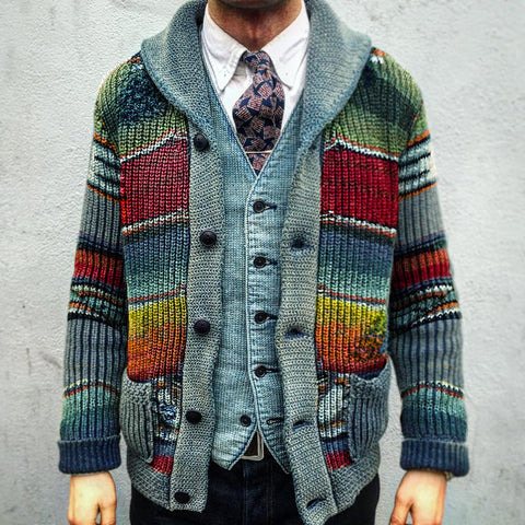 Vintage Casual Rainbow Striped Lapel Knit Cardigan