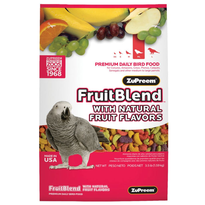 ZuPreem FruitBlend Premium Bird Diet for Medium & Large Birds