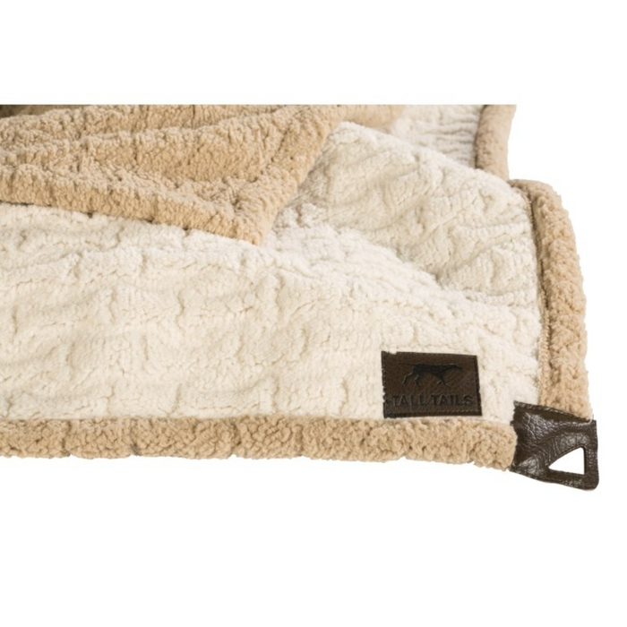 Tall Tails 30x40 Micro Sherpa Blanket EMBOSSED BONE CREAM