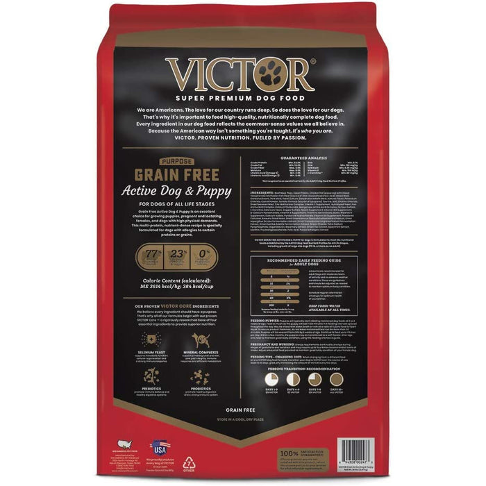 Victor Purpose - Grain-Free Active Dog and Puppy Beef Meal and Sweet Potato, Dry Dog Food