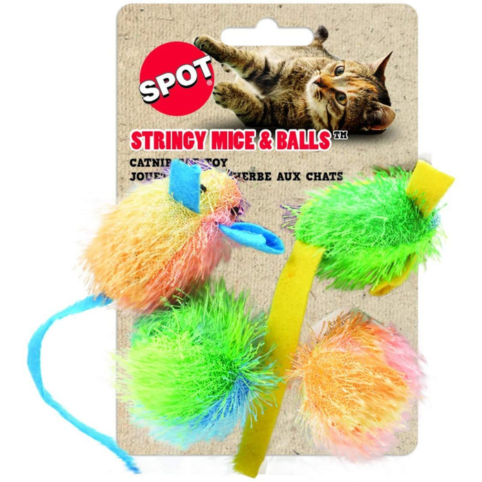 Cat Toy Stringy Mice w/Catnip 4pk