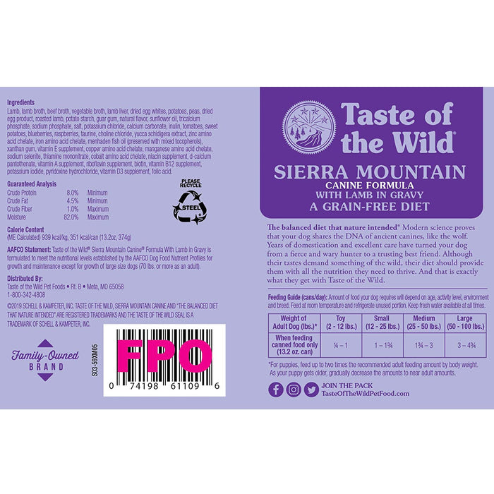 Taste of the Wild Grain Free Sierra Mountain Wet Canned Dog Food 13.2-oz, case of 12