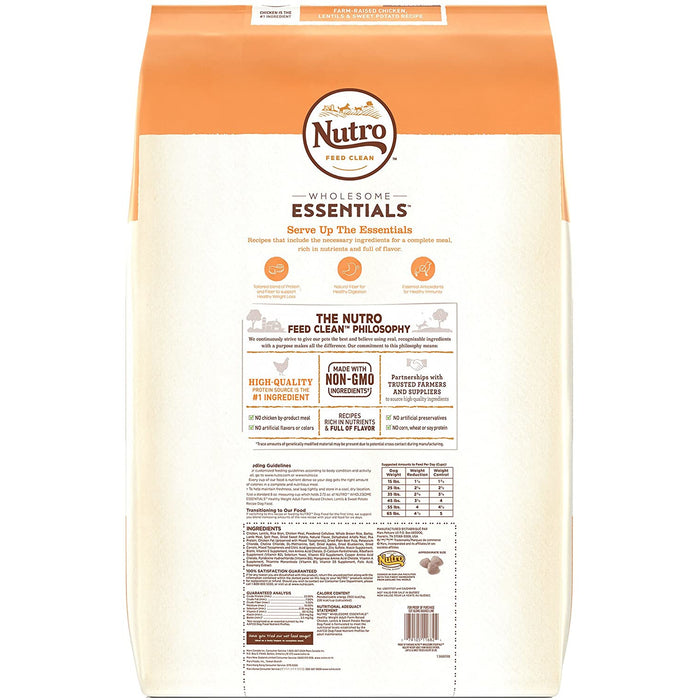 Nutro Wholesome Essentials Healthy Weight Chicken Lentil Sweet Potato 30lb