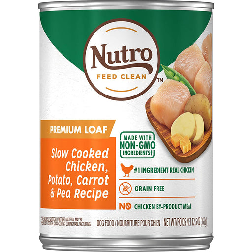 Nutro Can Adult Premium Loaf Slow Cooked Chicken Potato Carrot & Pea 12.5oz 12ct