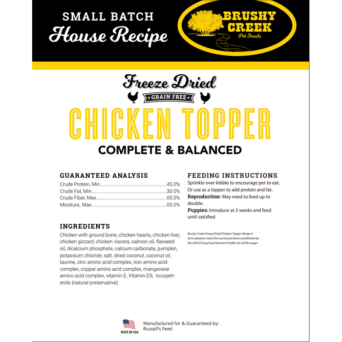 Brushy Creek Dog Freeze Dried Chicken Topper 8oz