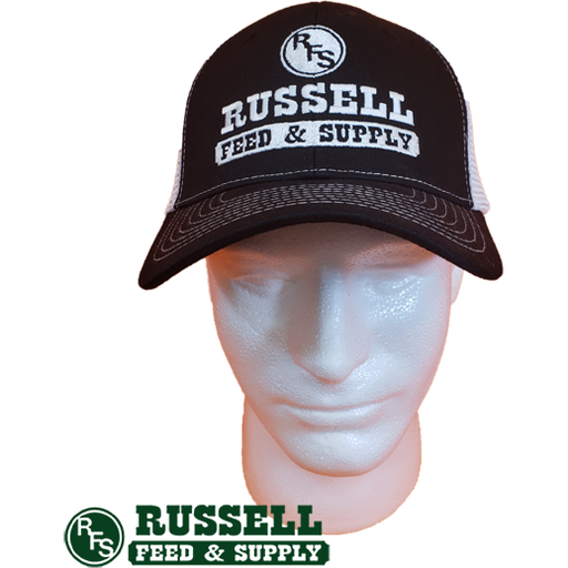 Russell Feed Black & White Snap Back Trucker Hat