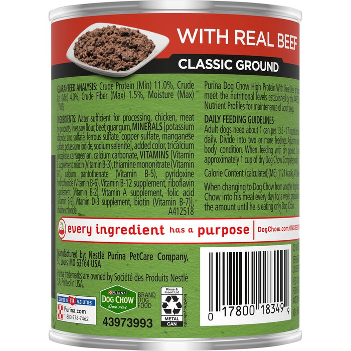 Dog Chow Can High Protein Ground Beef Classic Pate 13oz 12ct
