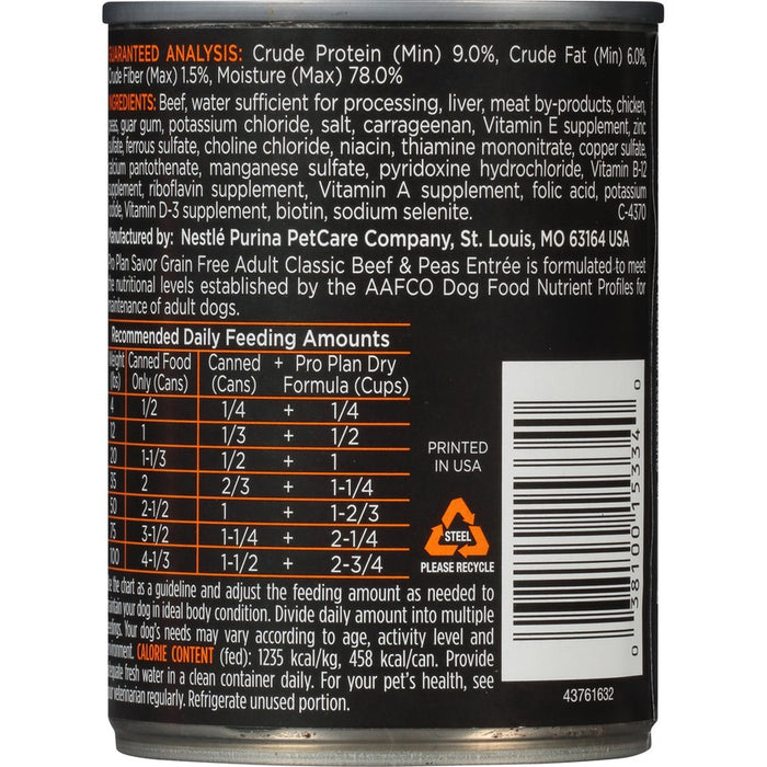 Pro Plan Dog Can Grain Free Beef & Peas 13oz 12ct
