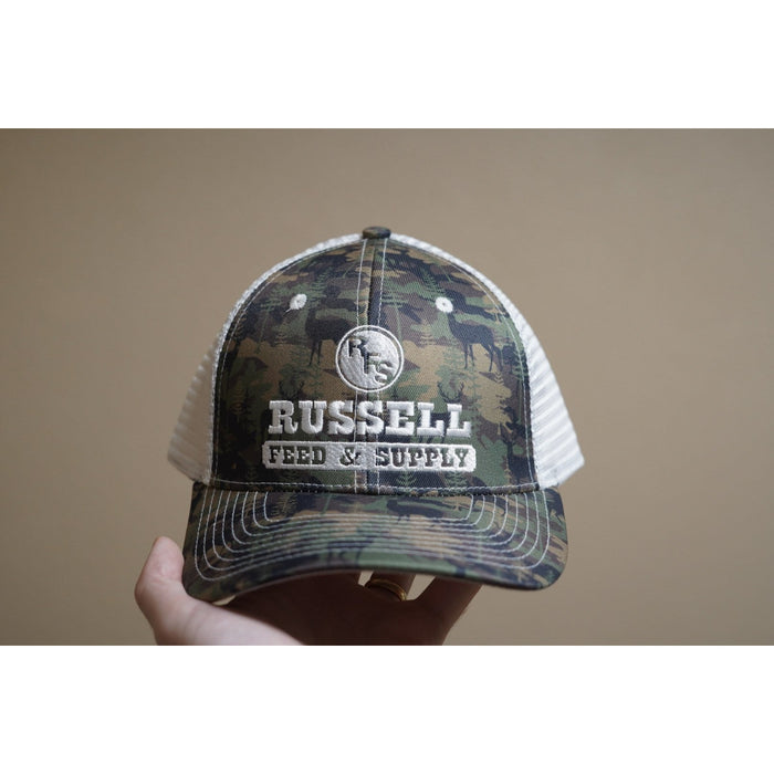 Russell Feed Deer Camo Print Snap Back Trucker Hat