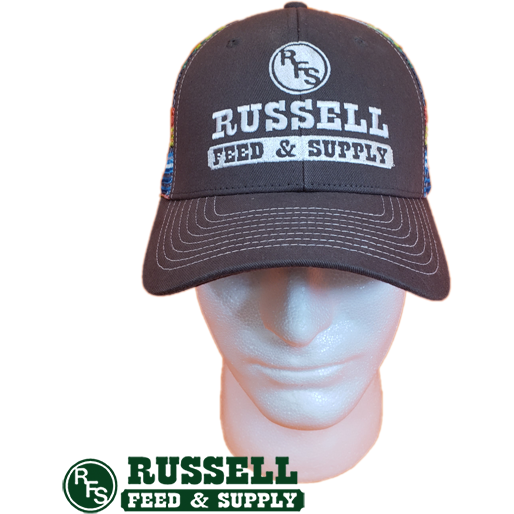 Russell Feed Gray & Rainbow Striped Snap Back Trucker Hat