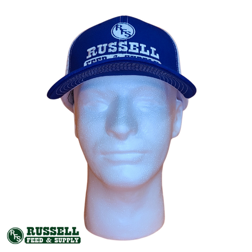 Russell Feed Texas Flag Patch Blue & White Snap Back Trucker Hat