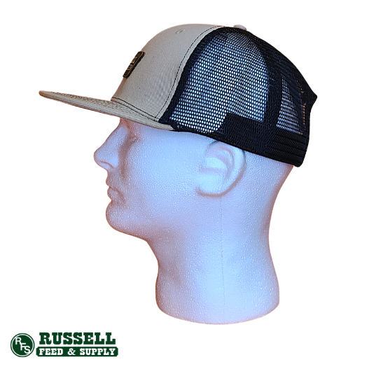 Russell Feed Tan & Black Leather Patch Snapback Hat