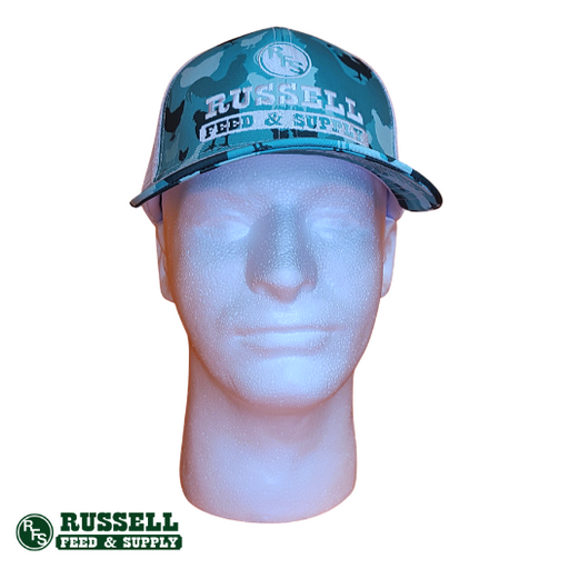 Russell Feed Teal Chicken Patch Snapback Hat