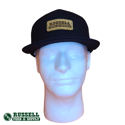 Russell Feed Black & Leather Patch Snapback Hat