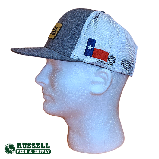 Russell Feed Grey & White Texas Flag Patch Snapback Hat