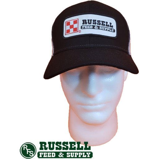 Russell Feed Purina Patch Black & White Snap Back Trucker Hat