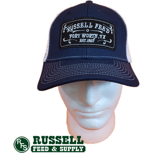 Russell Feed Commemorative Patch Navy Blue & White Snap Back Trucker Hat