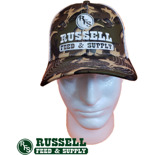 Russell Feed Cow Camo Print Snap Back Trucker Hat