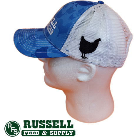 Russell Feed Blue Chicken Print Snap Back Trucker Hat
