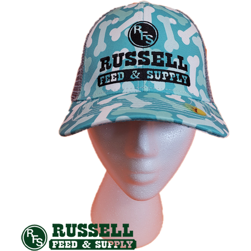 Russell Feed Dog Bone Print Youth Snap Back Trucker Hat