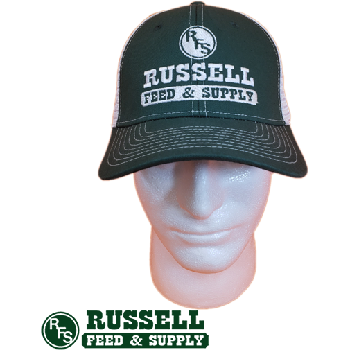 Russell Feed Green & White Snap Back Trucker Hat