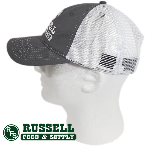 Russell Feed Gray & White Snap Back Trucker Hat