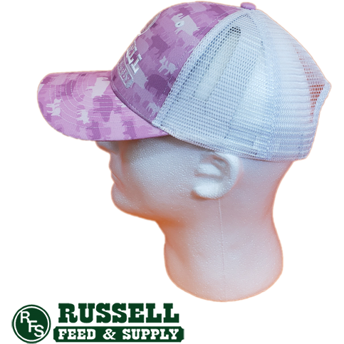 Russell Feed Pink Pig Print Snap Back Trucker Hat