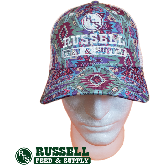Russell Feed Aztec Turquoise & Pink Snap Back Trucker Hat