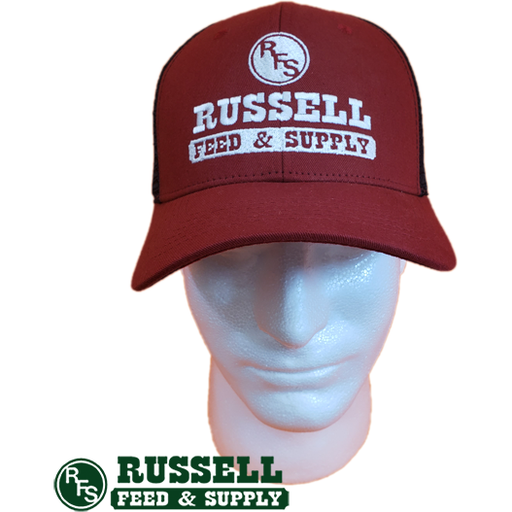 Russell Feed Red and Black Snap Back Trucker Hat