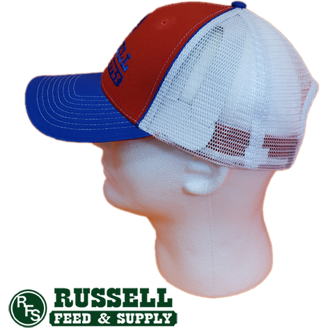 Russell Feed Red, White, & Blue Flag Brim Snap Back Trucker Hat