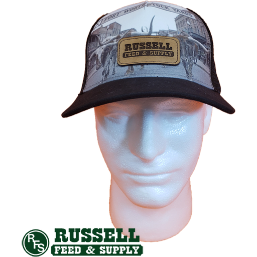 Russell Feed Leather Patch Fort Worth Stockyards Snap Back Trucker Hat