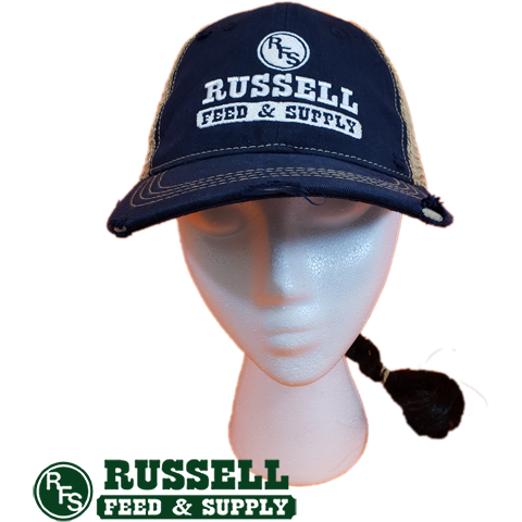 Russell Feed Vintage Blue & Gold Ponytail Hat