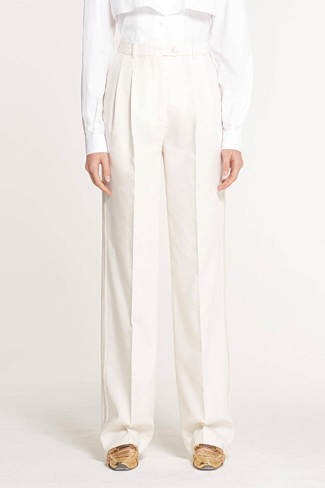 High Waisted Double Pleat Trouser