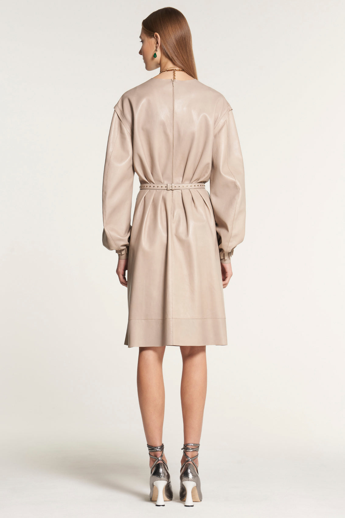 Taupe Leather Dress with Balloon Sleeves
