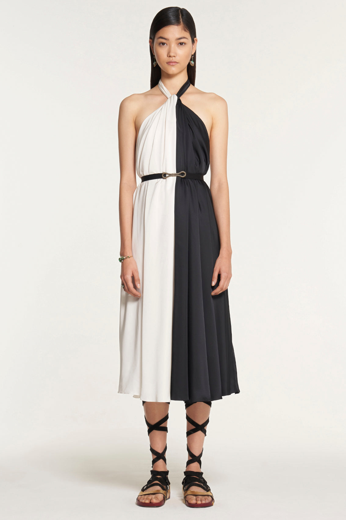 Contrast Black and White Tie Neck Dress