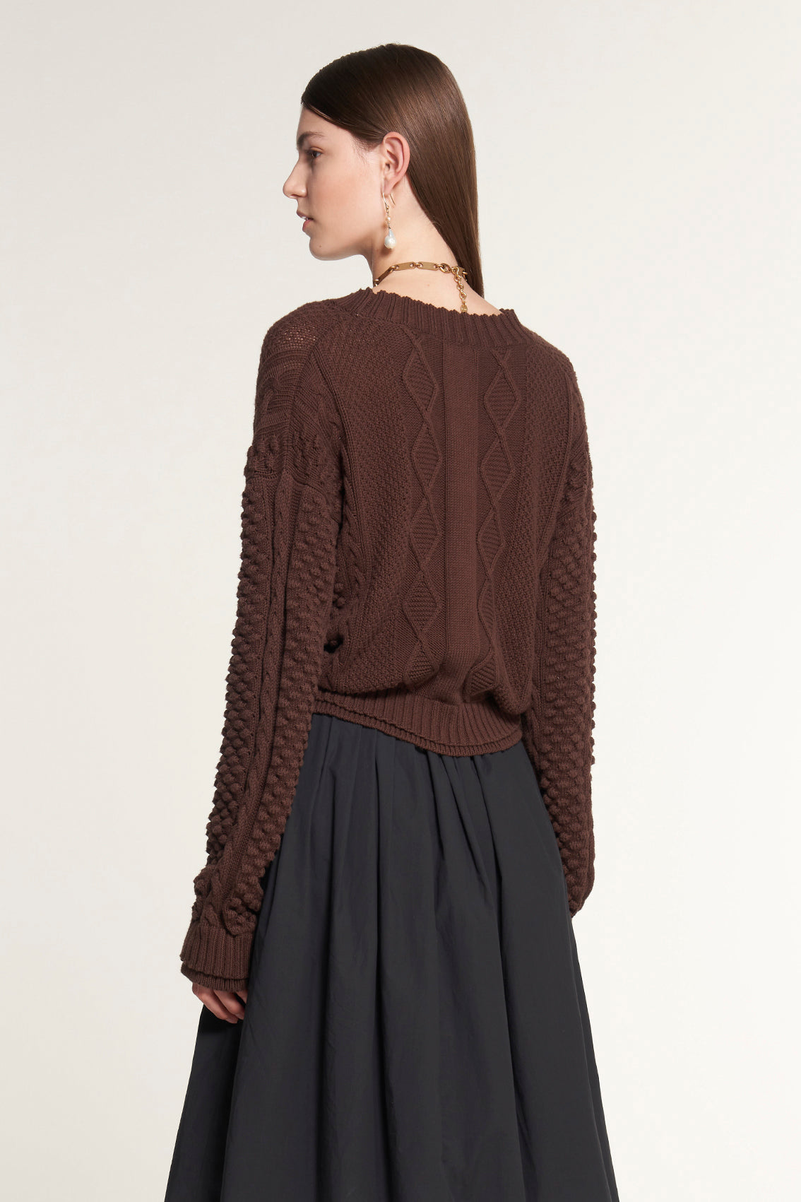 Cable Brown V-Neck Cardigan