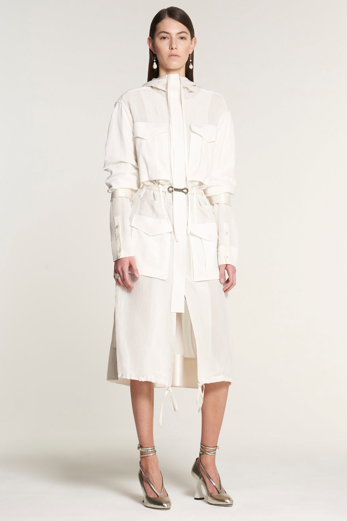 White Patch Pocket Athletic Dress Coat