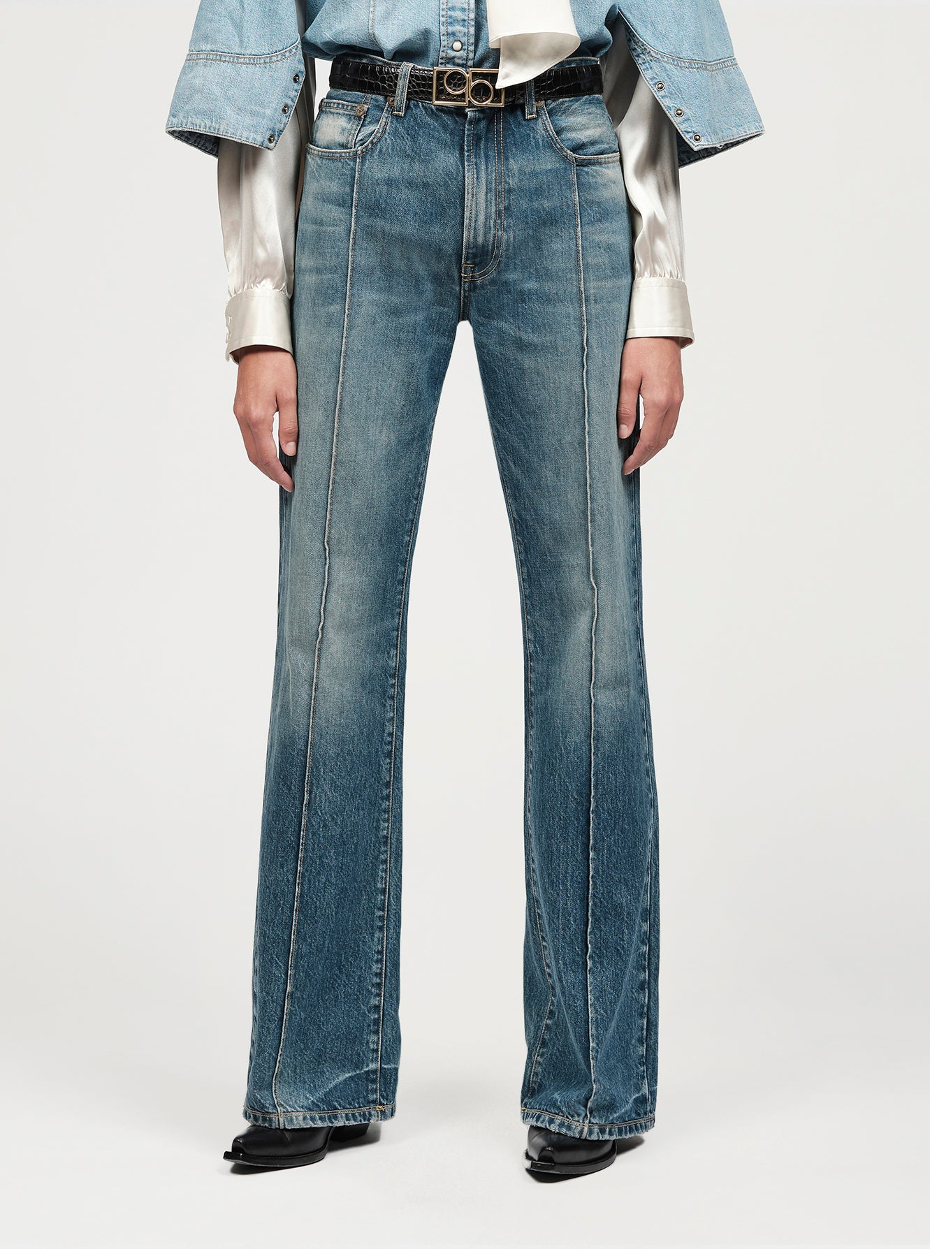 Geometric logo Western washed jeans