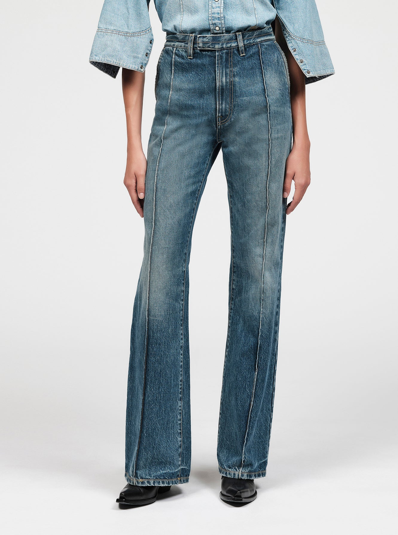 High rise washed denim jeans