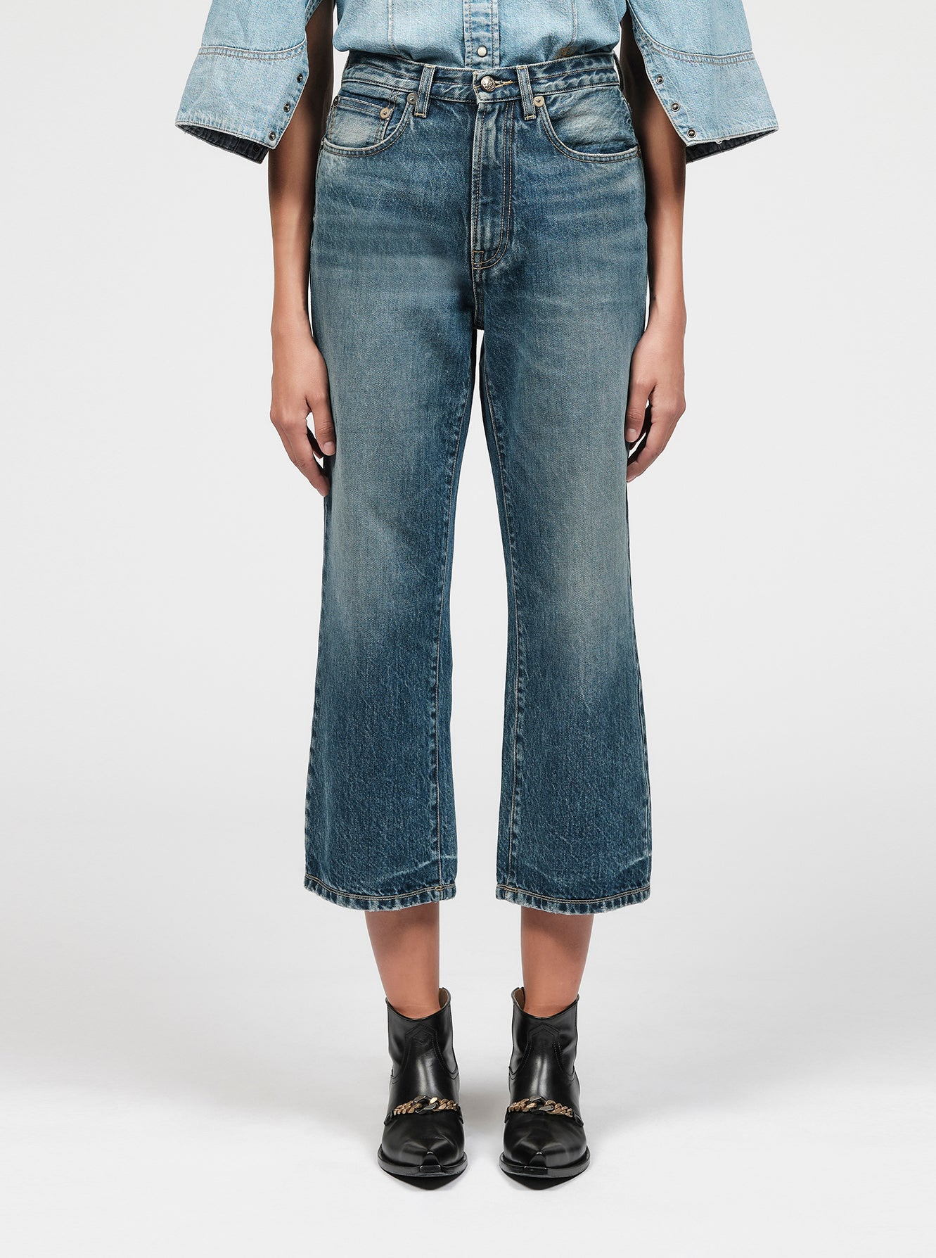 Washed denim boyfriend jeans
