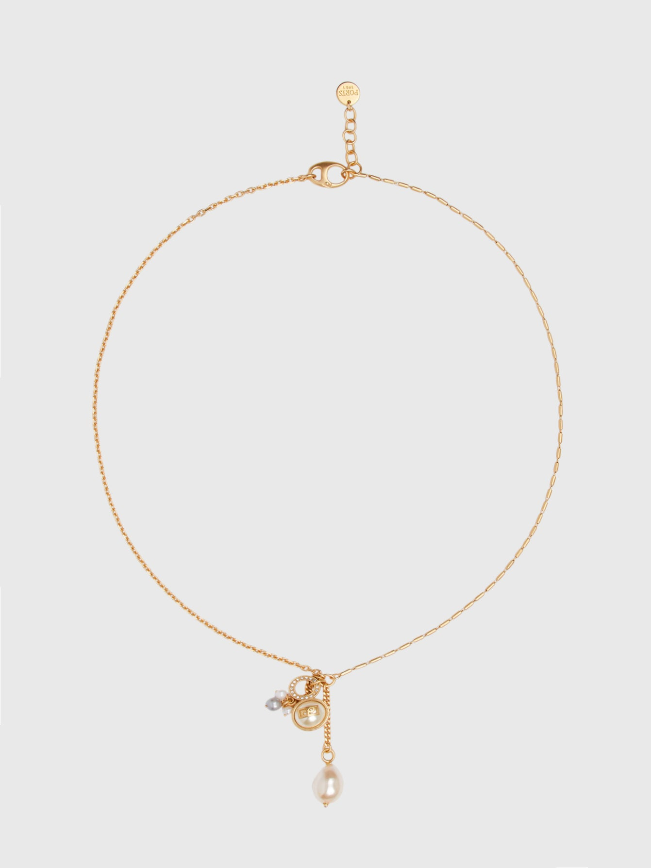 Gold Cluster Lariat Necklace