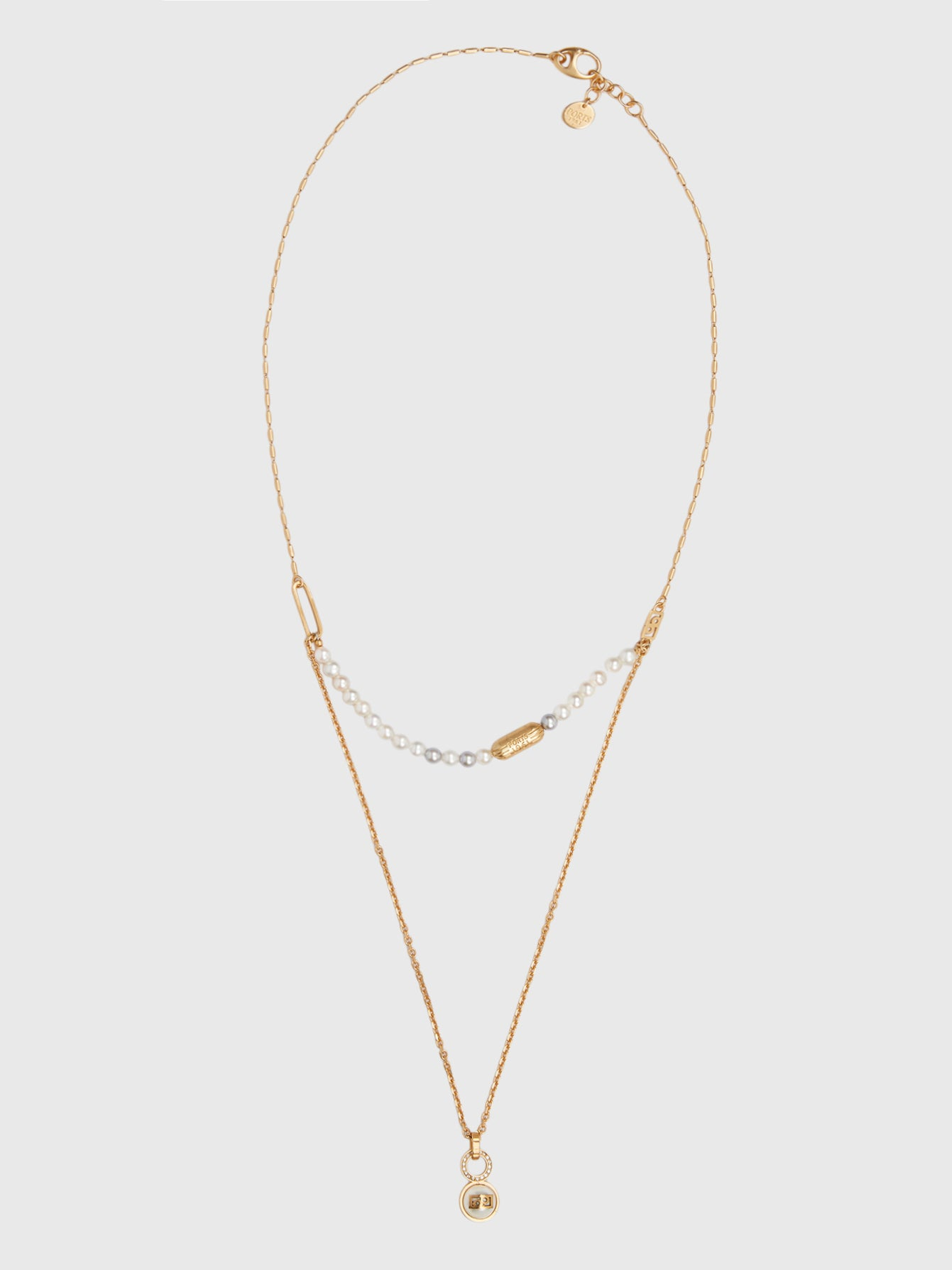 Gold and Pearl Double Length Necklace
