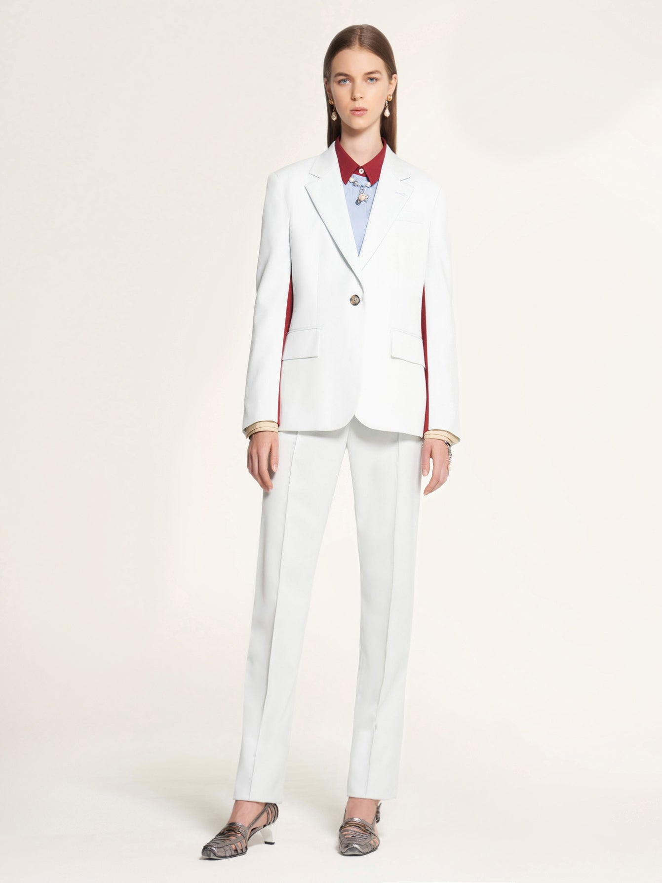 Marigold Blazer with White Contrast Detail