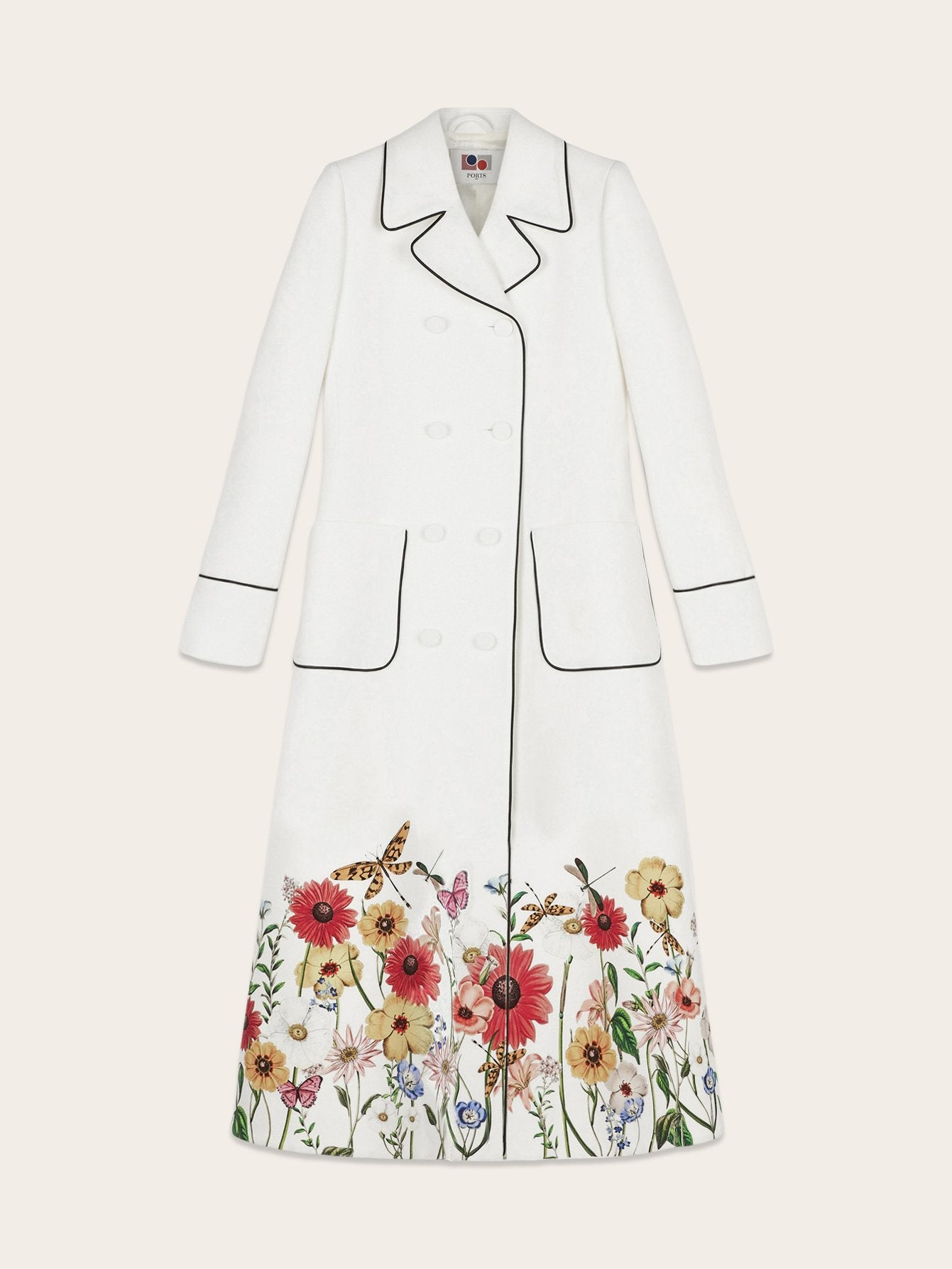 Long Double Breasted Floral Print Coat