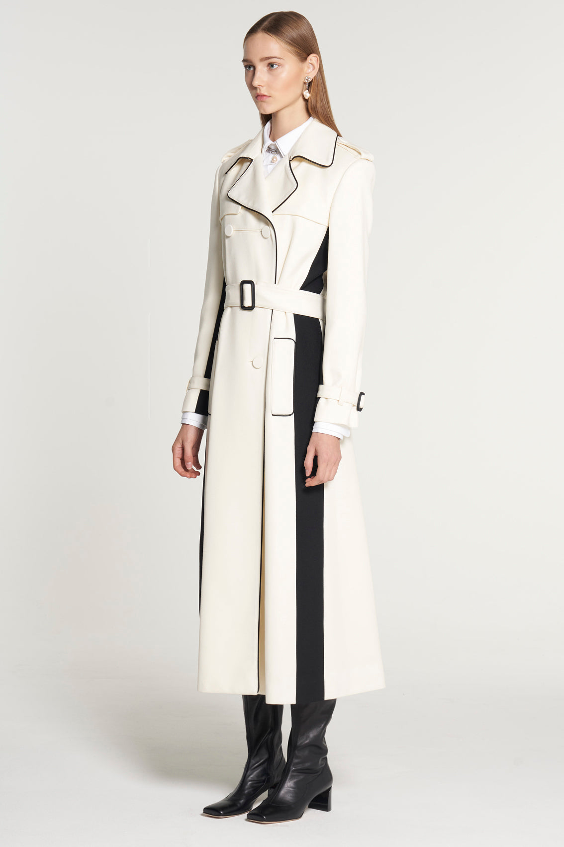 Long Double Breasted Ivory Trench Coat