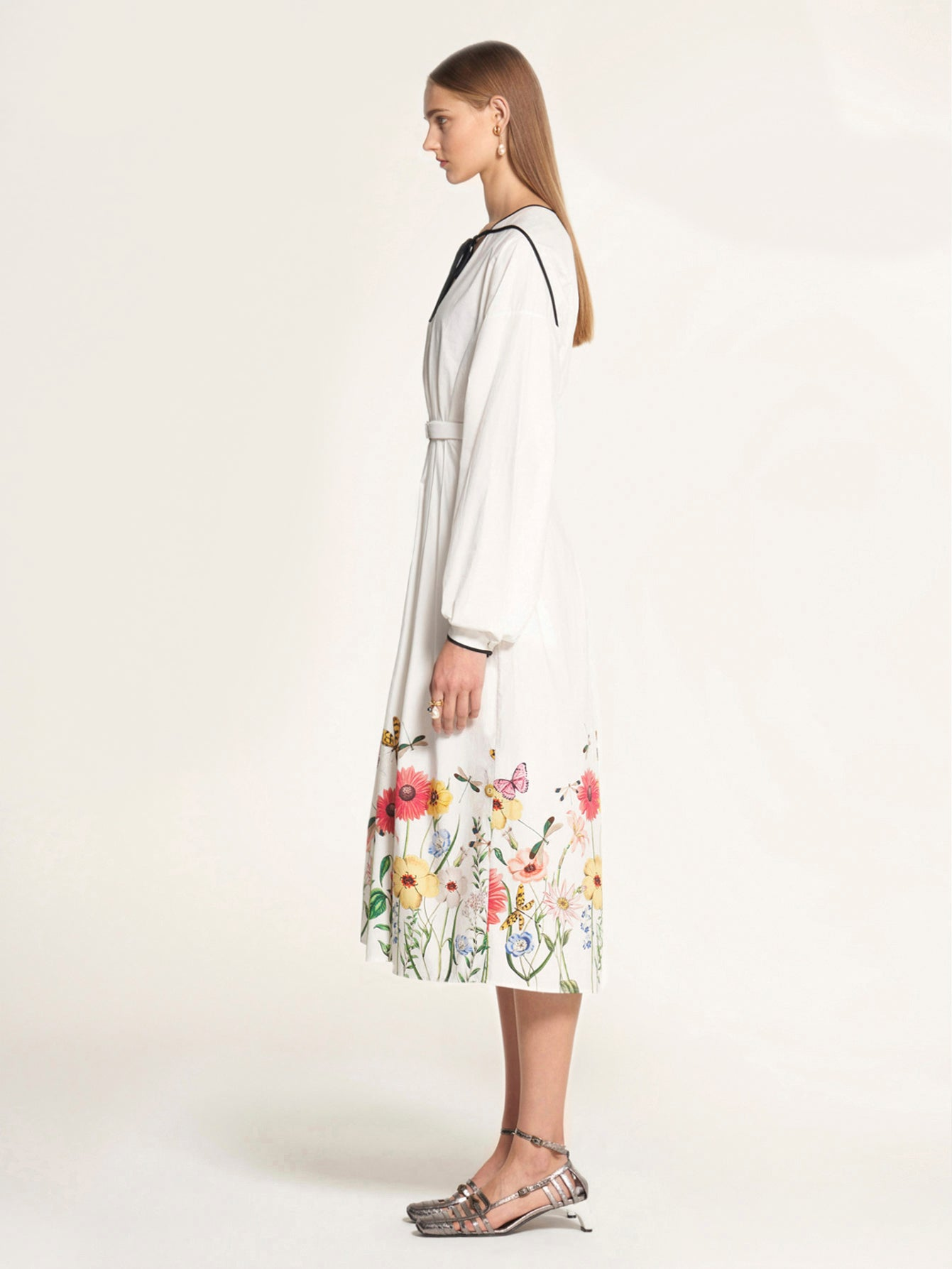 Flower Print Dress with Shoelace Tie Neck